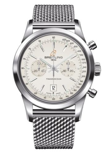 Image of Breitling Transocean Chronograph 38 Silver / Milanese A4131012.G757.171A