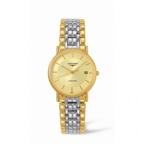 Image of Longines Presence 34.5 Automatic Yellow Stick Yellow Bracelet Two Tone L4.721.2.42.7
