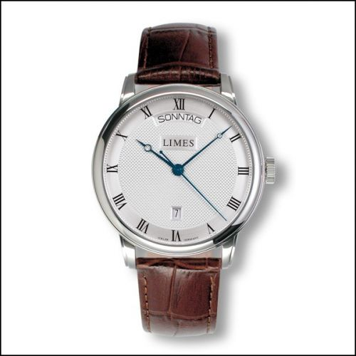 Image of Limes Pharo DayDate - silvered / brown leather strap U6282C-LA2.4