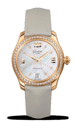 Image of Glashütte Original Lady Serenade Gold MOP Index Line Diamond Bezel 1-39-22-12-11-44