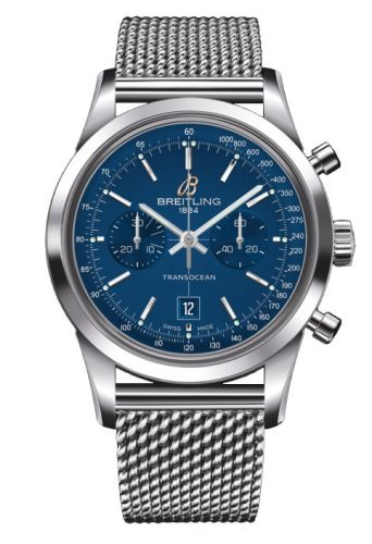 Image of Breitling Transocean Chronograph 38 Blue / Milanese A4131012.C862.171A