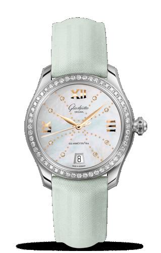 Image of Glashütte Original Lady Serenade Gold MOP Index Line Diamond Bezel 1-39-22-12-22-44