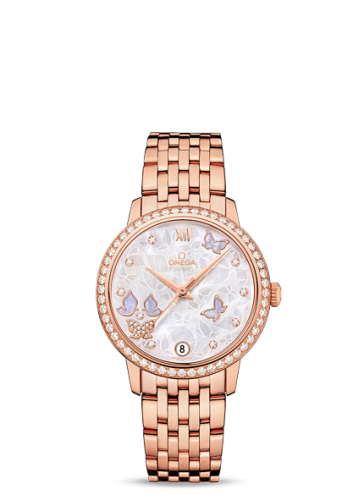 Image of Omega DeVille Prestige Co-Axial 32.7 Butterfly Red Gold Bracelet 424.55.33.20.55.004