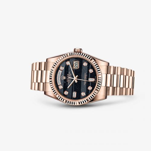 Image of Rolex Day-Date 36 Everose Fluted President Ferrite Diamonds 118235f-0107