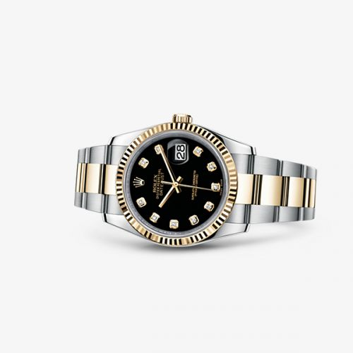 Image of Rolex Datejust 36 Rolesor Fluted Oyster Black Diamonds 116233-0175