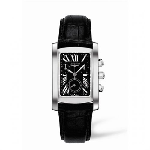 Image of Longines DolceVita 28 Quartz Chronograph Stainless Steel Black Roman L5.656.4.79.3