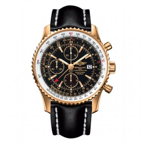 Image of Breitling Navitimer World Red Gold / Black Calf H2432212.B928.441X