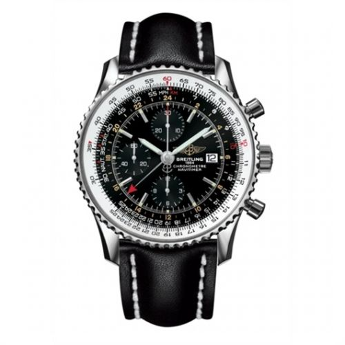 Image of Breitling Navitimer World Black / Black Calf A2432212.B726.441X