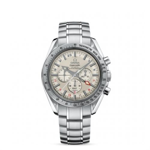 Image of Omega Speedmaster Broad Arrow Co-Axial GMT Silver/ Bracelet 3581.30.00