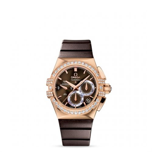 Image of Omega Constellation Double Eagle Co-Axial Chronograph Ladies Brown 121.57.35.50.13.001