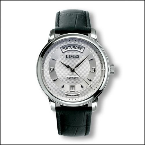Image of Limes Pharo DayDate - Silvered / black leather strap U6282C-LA2.1