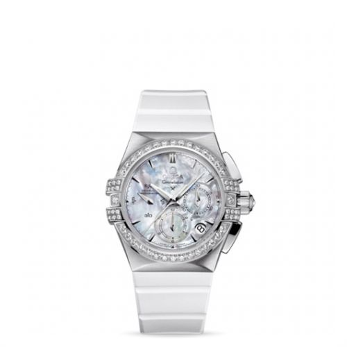 Image of Omega Constellation Double Eagle Co-Axial Chronograph Ladies White Rubber 121.17.35.50.05.001