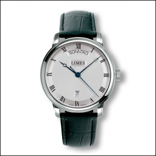 Image of Limes Pharo DayDate - silvered - black leather strap U6282C-LA2.3
