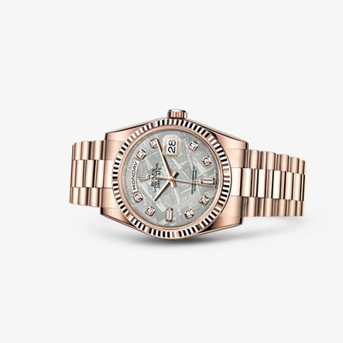 Image of Rolex Day-Date 36 Everose Fluted President Meteorite Diamonds 118235f-0026