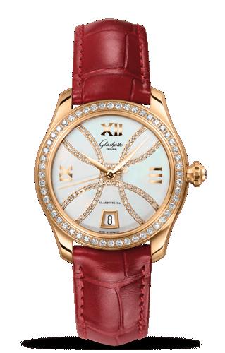 Image of Glashütte Original Lady Serenade Gold MOP Diamond Index Line Diamond Bezel 1-39-22-14-11-44
