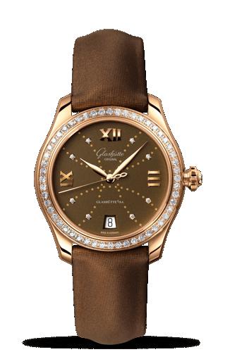 Image of Glashütte Original Lady Serenade Gold Brown Index Line Diamond Bezel 1-39-22-13-11-44