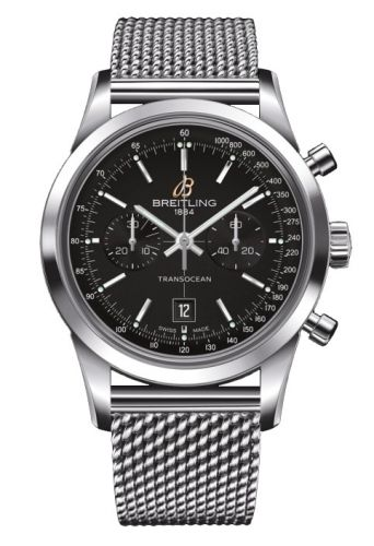 Image of Breitling Transocean Chronograph 38 Black / Milanese A4131012.BC06.171A