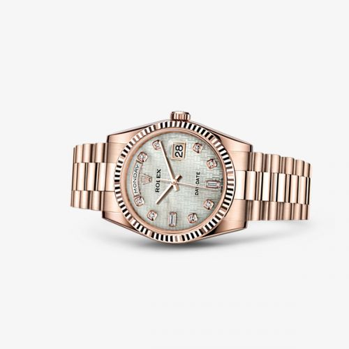 Image of Rolex Day-Date 36 Everose Fluted President Oxford Mother of Pearl Diamonds 118235f-0108
