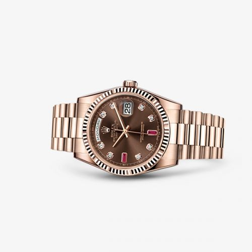 Image of Rolex Day-Date 36 Everose Fluted President Chocolate Diamonds Rubies 118235f-0093